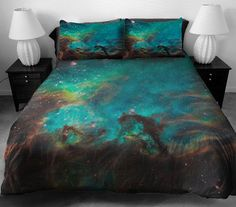 Blue galaxy bedding set blue nebula digital print duvet cover set custom made any sizes twin xl full queen king sets