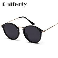 96a9d891788 Ralferty Vintage Round Polarized Sunglasses Women Men Brand Designer  Mirrored Black Sun Glasses UV400 Shades Female