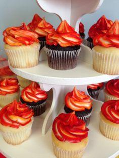 fire cupcakes, firetruck, fireman, birthday, flame