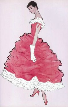 Balenciaga dress by René Gruau, This design is filled with feminism and class. For my illustrations I intend to include similiar styles to create a Gruau inspired design. Jacques Fath, Marie Claire, 1950s Fashion, Fashion Art, Vintage Fashion, Fashion Design, Christian Dior, Balenciaga Dress, Givenchy