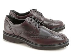 Hogan men's wingtip brogues shoes in burgundy leather - Italian Boutique €202