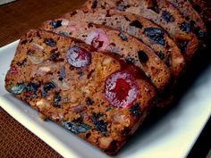 Mom's FRUITCAKE -- 3 cups applesauce 1 cup shortening 2 cups sugar 1 lb. chopped dates 1 lb. raisins 1 lb. nuts ¼ lb. candied cherries quartered ¼ lb. candied pineapple chopped ¼ lb. citron finely chopped 4 ½ cups sifted flour 1 Tbsp. baking soda 1 tsp nutmeg ½ tsp clove 1 tsp salt Boil applesauce, shortening & sugar together for 5 minutes stirring occasionally. Cool. Mix fruit & nuts together. Sift dry ingredients over fruit until coated. Stir in cooled mixture. Turn into pan. 250º for 2…