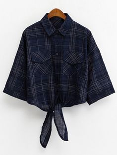 Shirt Collar Knotted Cropped Grid Shirt