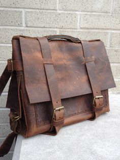 Leather bag lap top messenger beautiful rustic handmade and handstitched by Aixa Sobin