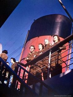WACs aboard the RMS Queen Mary. They were leaving Southampton and headed home after two years overseas ~ Women's Army Corps, Royalty Free Pictures, Queen Mary, Colorful Pictures, Armed Forces, World War Ii, Wwii, Southampton, History