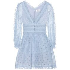 Zimmermann Winsome Tea cotton dress (3.155 BRL) ❤ liked on Polyvore featuring dresses, zimmermann, blue tea dress, cotton dresses, tea-length dresses and blue cotton dress