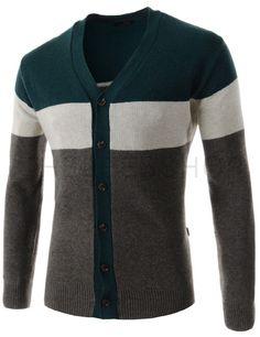 (SGC25-BROWNGREEN) Mens Slim Fit Three-Tone Stripe Pattern Knitted Long Sleeve Cardigan