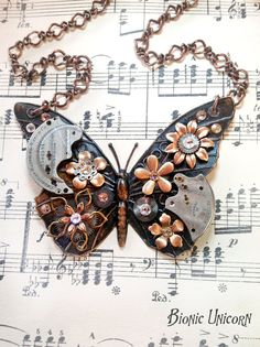 Steampunk Butterfly Necklace Antiqued Steampunk by bionicunicorn