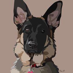 Good Shepherd Canvas Print by Kris Hackleman Animal Paintings, Animal Drawings, Art Drawings, Arte Pop, Art And Illustration, German Shepherd Painting, Dog Art, Dog Pop Art, Dog Portraits