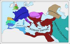 Map of Europe - 736 CE : imaginarymaps Imaginary Maps, Country Maps, Alternate History, Fantasy Map, Roman Empire, Alien Logo, Sci Fi, Europe, Culture