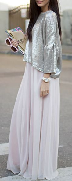 Glimmery, metallic looking sweater and a blush colored long, skirt underneath. Perfection.