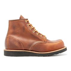 Red Wing Men's 6 Inch Moc Toe Leather Lace Up Boots - Copper Rough and... ($290) ❤ liked on Polyvore featuring men's fashion, men's shoes, men's boots, men's work boots, brown, red wing mens boots, mens leather lace up boots, mens black lace up boots, mens wedge work boots and mens black work boots