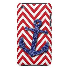 Unique, trendy and pretty nautical theme iPod case. Beautiful image of shiny dark navy blue glitter anchor on red / white zigzag chevron pattern. Sparkling anchor and retro zig zag stripes depicting sailing, waves, seas and waters. For the sailor or boater, water sport, boating, ocean or sea lover. Cute and fun birthday present, or Christmas gift. Original, classy, chic and cool cover. Also available for iPod 5G, Samsung Galaxy S2 S3 S4, iPhone 3 4 5, Motorola Droid Razr, iPad and more.