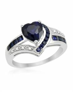 New White Gold Ring with 2.49 CTW Sapphires , Diamond $149.00 #PrivateLabel