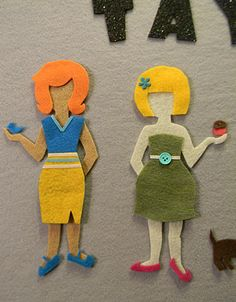 Felt dolls don't need tabs like paper ones for their clothes to stay put.