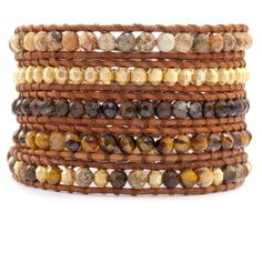Chan Luu - Tiger's Eye Mix Wrap Bracelet on Natural Brown Leather, $245.00 (http://www.chanluu.com/wrap-bracelets/tigers-eye-mix-wrap-bracelet-on-natural-brown-leather/)