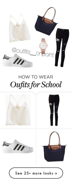 """School outfit"" by vanessa-bergstrom on Polyvore featuring Miss Selfridge, adidas, Longchamp and Larsson & Jennings"