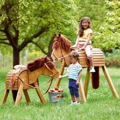 Wood Toys Wooden horse JAKO-O, small and big Kids Outdoor Play, Backyard For Kids, Outdoor Fun, Diy For Kids, Wood Projects For Kids, Kids Wood, Natural Playground, Backyard Playground, Palette Deco