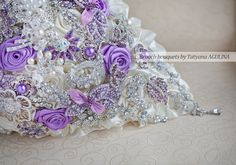 Cascading Brooch bouquet. Lavander, Ivory and Silver wedding brooch bouquet, Jeweled Bouquet on Etsy, $403.18 AUD