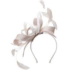 Mascara Beige / Ivory-White Plus Size Two tone feather fascinator ($87) ❤ liked on Polyvore featuring accessories, hair accessories, hats, headband, beige, plus size, fascinator headband hat, white feather hair accessories, headband hair accessories and white fascinator hat