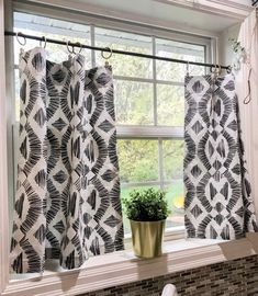 Modern Boho Cafe curtains perfect for your bohemian, Farmhouse Decor, printed Mud cloth window curtains - HGTV - Bathroom Window Curtains, Bathroom Windows, Cafe Curtains Kitchen, Farm Curtains, Window Valances, Kitchen Valances, Boho Curtains, Tier Curtains, Burlap Curtains