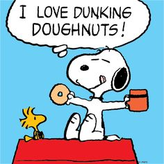 Doughnuts & coffee with Snoopy & Woodstock. Peanuts Gang, Die Peanuts, Peanuts Cartoon, Peanuts Comics, Snoopy Comics, Peanuts Characters, Cartoon Characters, Cartoon Pics, Peanuts Images