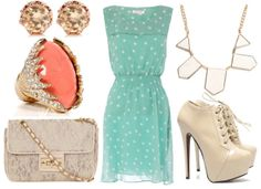 how to style a polka dot dress for night with nude ankle booties lace cross body bag geometric white necklace coral cocktail ring and leopard studs    http://www.filmekostenlos.org/pinterest