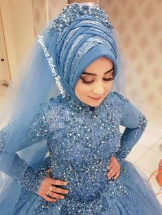 the # design # Hijab the I Hijab Wedding, Muslimah Wedding Dress, Hijab Bride, Wedding Girl, Beautiful Muslim Women, Beautiful Hijab, Abaya Fashion, Muslim Fashion, Bridal Hijab Styles