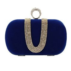 Women Vogue Crystal Studded Ring Knuckle Imitate Suede Evening Cocktail Clutch Bag - Royal Blue: Amazon.co.uk: Clothing