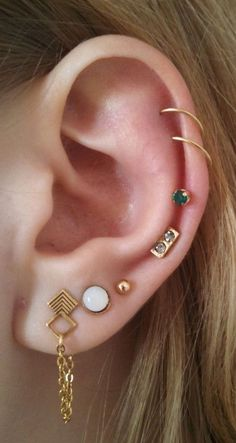 Boho Ear Piercing Ideas at MyBodiArt.com - Cartilage Rings Helix Hoop Earring Stud 16G Barbell