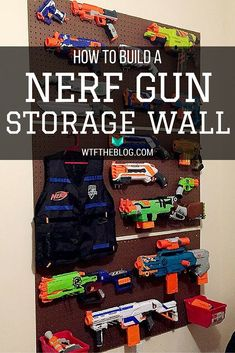 How to build a Nerf gun storage wall for under $50. Perfect for the kid in your life with an armory of Nerf guns! Feautured on Whiskey Tango Foxtrot (wtftheblog.com) - looks just like how my older son organizes his paintball guns - nice idea!