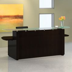 View our Reception Desk with Glass Counter - and shop our wide selection of furniture to customize your office space. All products backed by our lifetime guarantee! Reception Counter, Office Reception, Corner Office, Desk Office, Desktop Design, Desk Styling, Business Furniture, Front Desk, Office Decor
