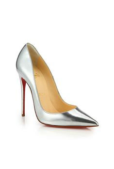"""Brides.com: . """"So Kate"""" silver metallic leather pumps, $695, Christian Louboutin available at Saks Fifth Avenue"""