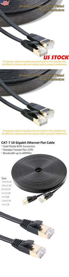 Ultra Flat Cat 7 Ethernet Cable Cord 6ft 10ft 25ft 50ft 100ft High Speed US Lot