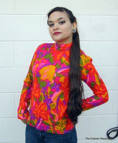 Vintage 1960s Psychedelic Top-Flower Power-Tails of Mister Pants Brand. $24.00, via Etsy.