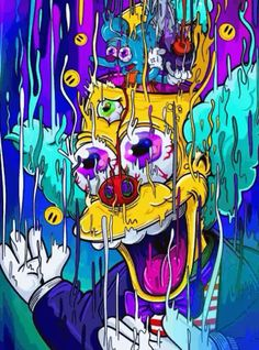 Crazy disturbing picture of krusty from the simpsons art graffiti wallpaper Trippy Wallpaper, Graffiti Wallpaper, Cartoon Wallpaper, Trippy Cartoon, Cartoon Art, Simpson Art, Es Der Clown, Psychadelic Art, Trippy Drawings