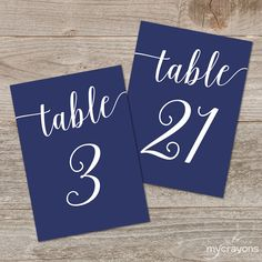 { Bella Script Table Numbers } These navy table numbers are great for the DIY bride looking for printable wedding decor!  Printable Table Numbers 1-30: ▶ 4x6 Table Numbers...2 per page ▶ 5x7 Table Numbers...2 per page ▶ Includes mirror files for double-sided printing  Each PDF contains 15 pages, fitting 2 cards per letter page with trim guides for a total of 30 table numbers. See ordering and printing tips below.  • • • • • • • • • • • • • • • • • • • • • • • • • • • • • • • • • • • • • • •…