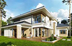 projekt Spokojny zakątek WAH1687 Building Exterior, Home Fashion, Bungalow, House Plans, Villa, Mansions, House Styles, Home Decor, Behance