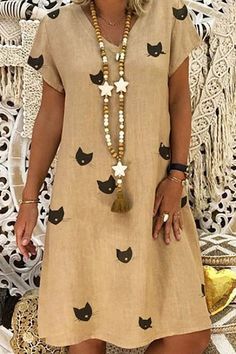 Casual V Neck Short Sleeve Printed Colour Dress – modevova pretty casual dress,fashion style dress, dress ideas casual, Daytime Dresses, Modest Dresses, Shift Dresses, Maxi Dresses, Casual Dress Outfits, Summer Dresses For Women, Fashion Dresses, Short Sleeve Dresses, Clothes