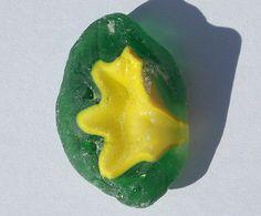 Petite Vivid Yellow Green OOAK Pebble Rare Thick Beach Tumbled Sea Glass Frosty