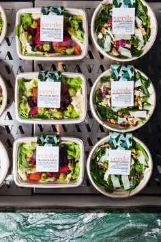 Business Ideas For Women Discover Verde // New York The MP Shift label design for Verde by The MP Shift Takeaway Packaging, Salad Packaging, Food Packaging Design, Coffee Packaging, Bottle Packaging, Food Cart Design, Food Menu Design, Salad Shop, Salad Bar