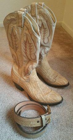 RARE Larry Mahan Elephant Skin Boots With Matching Belt SZ 8 A/ 34 Waist #LarryMahan #CowboyWestern