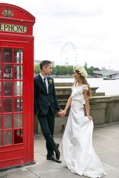 Belle & Bunty Photoshoot with Pocketful of Dreams ~ London City Wedding ~ Phone Booth & River Thames ~ Modern Wedding Inspiration Wearing Bridal Separates