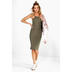 Boohoo Basics Charly High Neck Ribbed Midi Dress ($20) ❤ liked on Polyvore featuring dresses, khaki, white bodycon dress, white body con dress, cocktail dresses, high-neck camisoles and holiday dresses