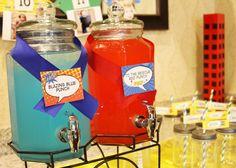 Super Hero Birthday Party Super Hero Drink Station www.sweetlychicevents.com
