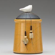Ceramic Bird jar,yellow gold,handmade pottery jar ,home decor raku fired art pottery
