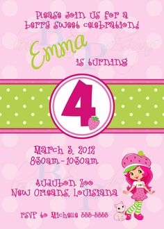 Strawberry Shortcake - Birthday Invitation