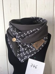 Wrap scarf anchor grey with button/maritim/delimade Bandana, Hooded Scarf, Mother Gifts, Womens Scarves, Put On, Vegan Leather, Scarf Wrap, Alexander Mcqueen Scarf, Fancy