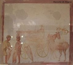 Museo Civiltà trasporto di vino. Small painting of a wine-cart. Pompeii