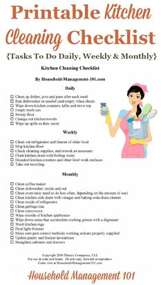 Free printable kitchen cleaning checklist listing tasks to do daily, weekly and monthly to keep your kitchen looking great {courtesy of Household Management 101}